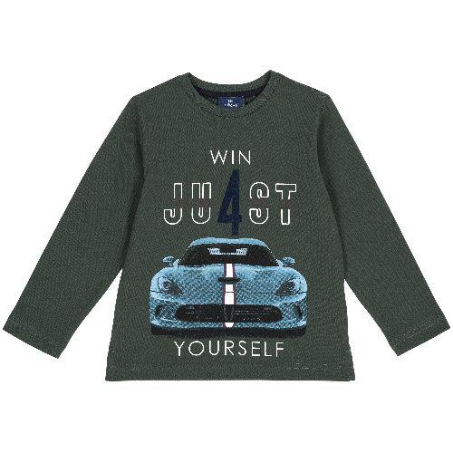 Купить 9006832, Лонгслив Chicco Win just yourself для мальчиков р.92 цв.темно-зеленый, Кофточки, футболки для новорожденных