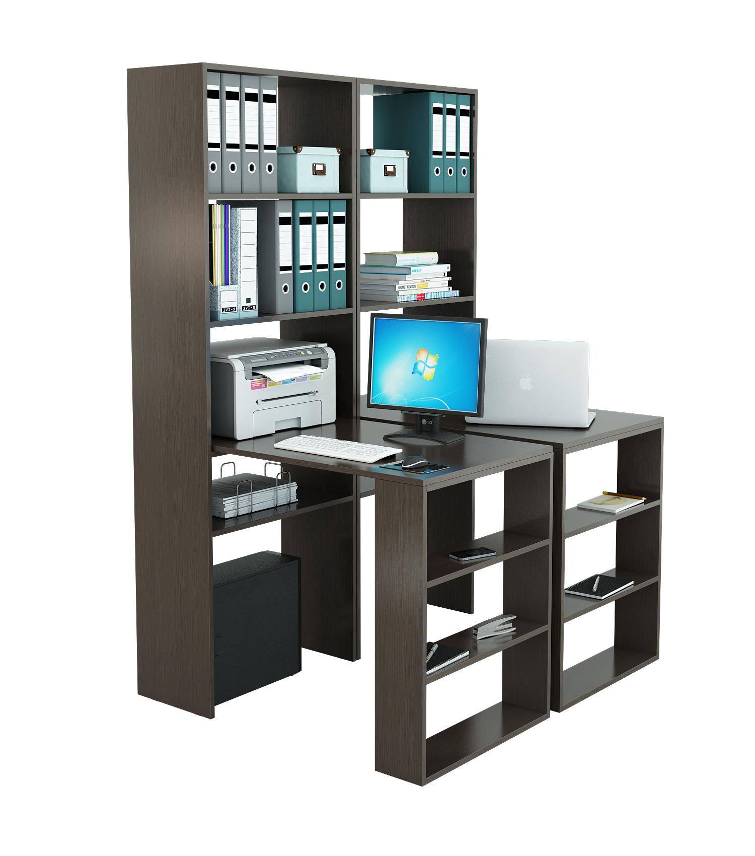 Компьютерный стол со стеллажом МФ Мастер 2 шт. Рикс-4 + 2 шт. Рикс-5 Венге