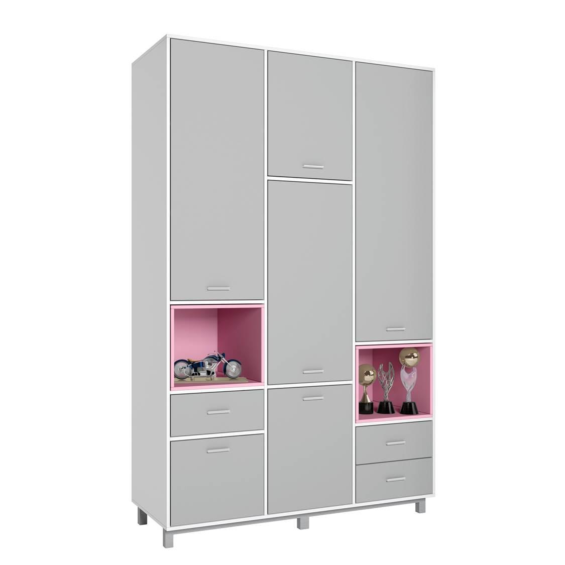 Купить Детский шкаф трехсекционный Polini kids Mirum 2335 белый-серый/розовый, Шкафы в детскую комнату