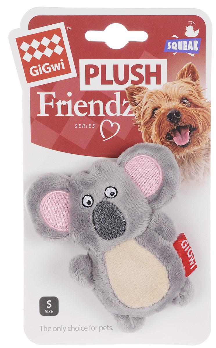 Мягкая игрушка для собак GiGwi Коала с пищалкой, серый, длина 10 см