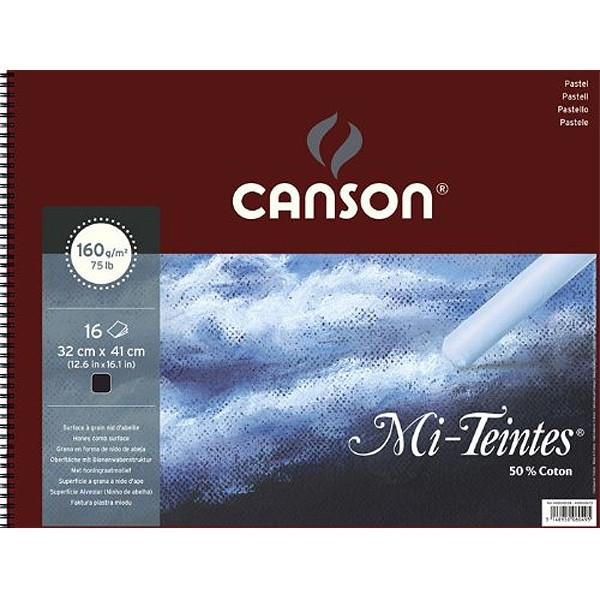 Альбом на спирали, черная бумага для пастели Mi-Teintes CANSON, 160г/м2, 32х41см, 16 л фото