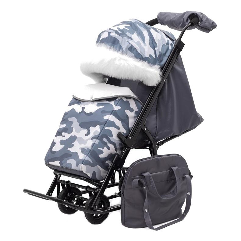 Купить Санки-коляска PIKATE MILITARY Серый, Санки складные
