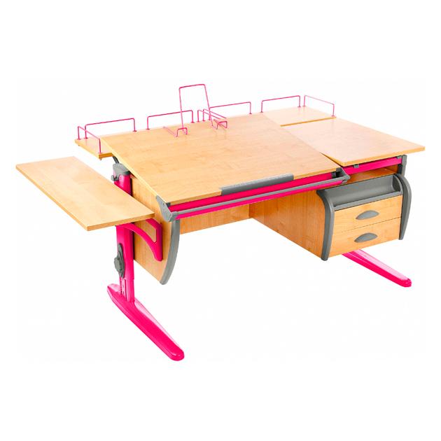 Парта Дэми СУТ 17-05 120 см+ приставки+боковая приставка+ тумба, клен, розовый, фото