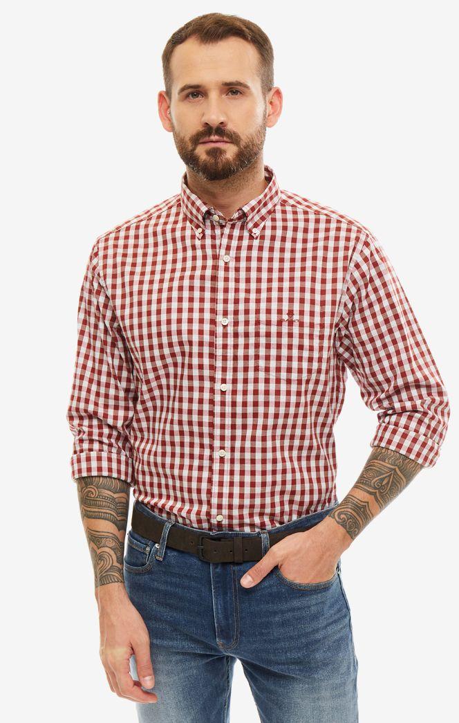 Рубашка мужская GANT 3061500.617 красная/белая L
