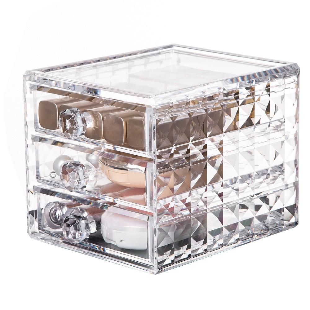 Акриловый органайзер для косметики Homsu с 3-мя ящичками Diamond фото