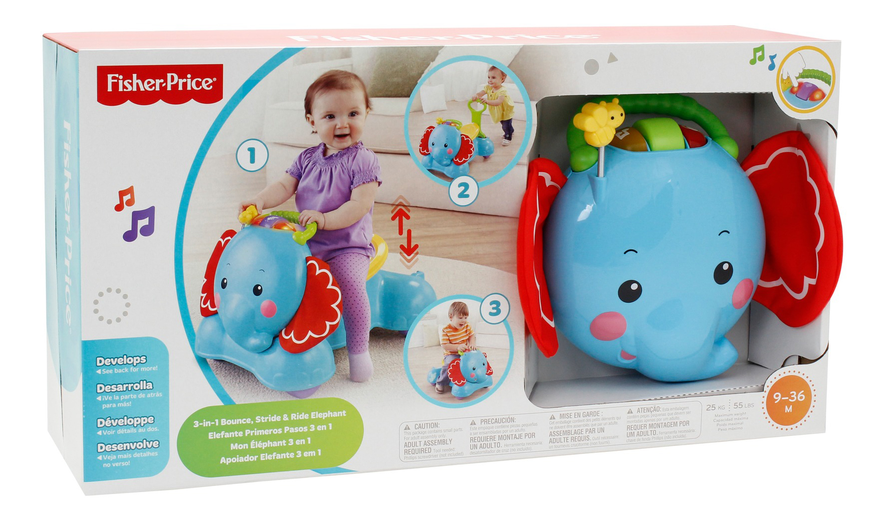 Каталка детская Fisher-Price® 3-in-1 bounce, stride #and# ride elephant CBN62