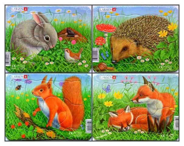 Купить Пазл Larsen 4 в 1 Кролик, белка, лиса, еж, Пазлы