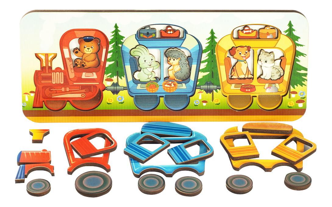 картинка Деревянная игрушка для малышей Весёлый паровозик Нескучные игры от магазина Bebikam.ru