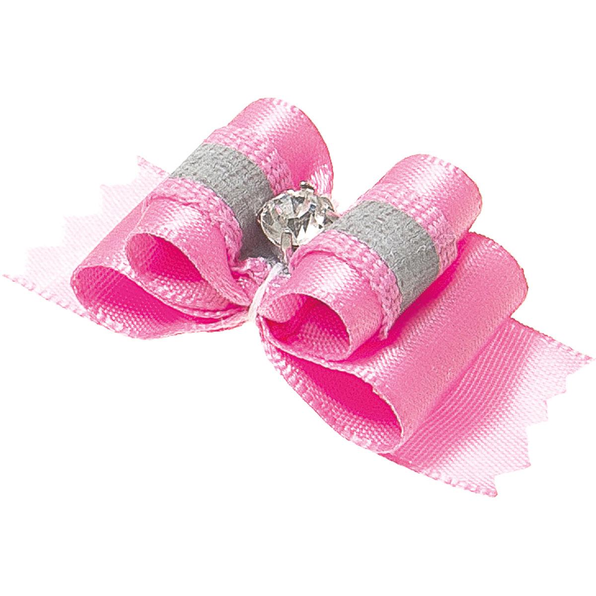 Бантик для собак ZooOne Ностальжи, пара,светоотражающий,тройной объёмный,розовый,4,5х1,5см