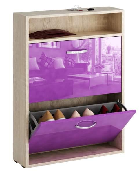 Обувница MFMaster Милан-25 МСТ-ОДМ-25У 60х17х88,2 см, дуб сонома/фиолетовый глянец