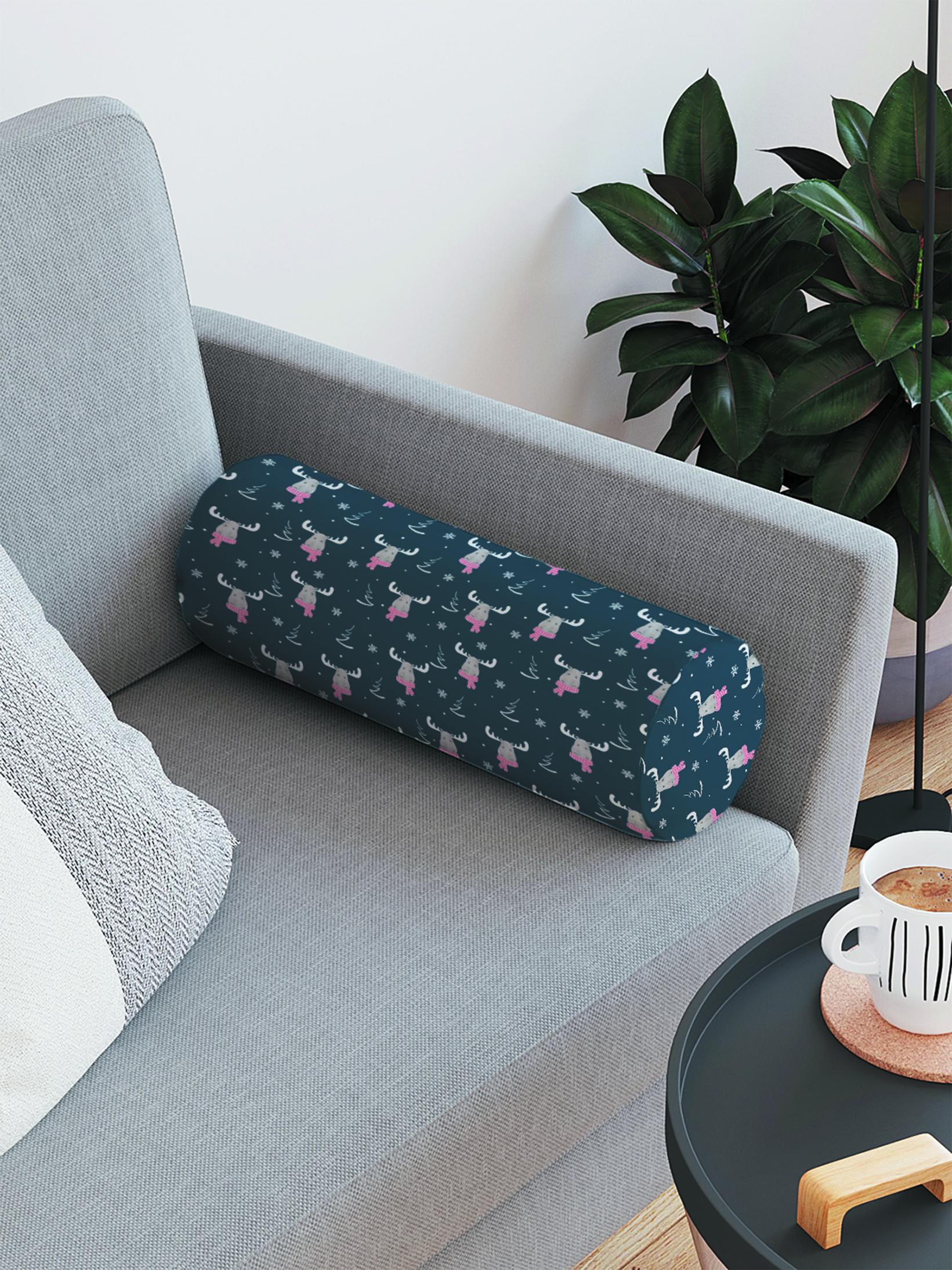 JoyArty Декоративная подушка-валик «Модный лось» на молнии, 45 см, диаметр 16 см