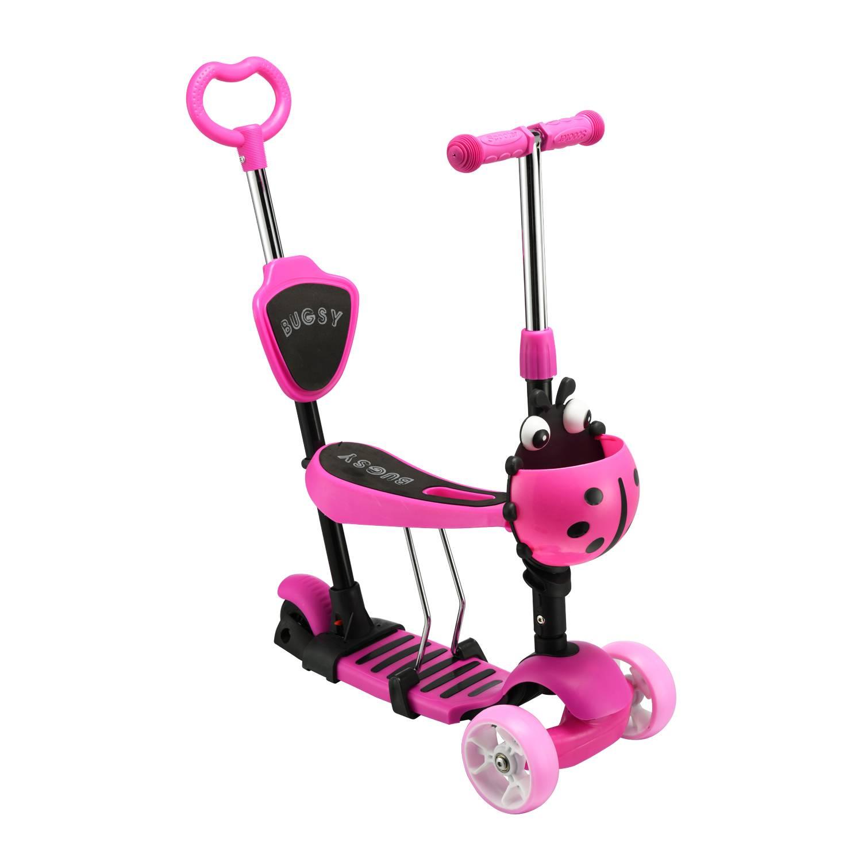 Самокат-беговел с ручкой RGX BUGSY+ LED Pink фото