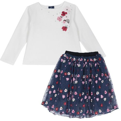 Комплект (футболка+юбка) Chicco для девочек р.98 цв.синий