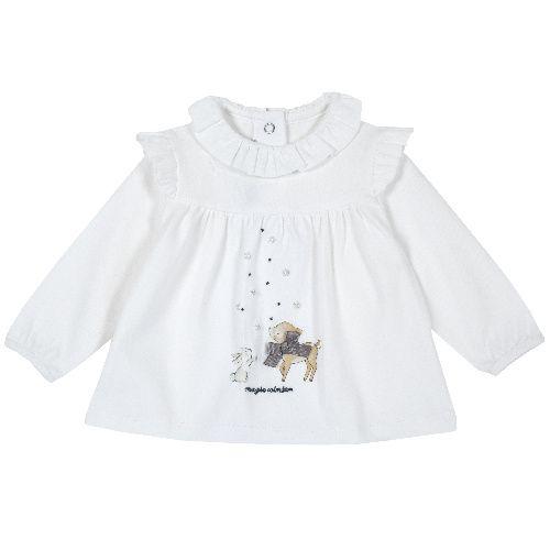 Купить 9006745, Лонгслив Chicco для девочек р.92 цв.белый, Кофточки, футболки для новорожденных