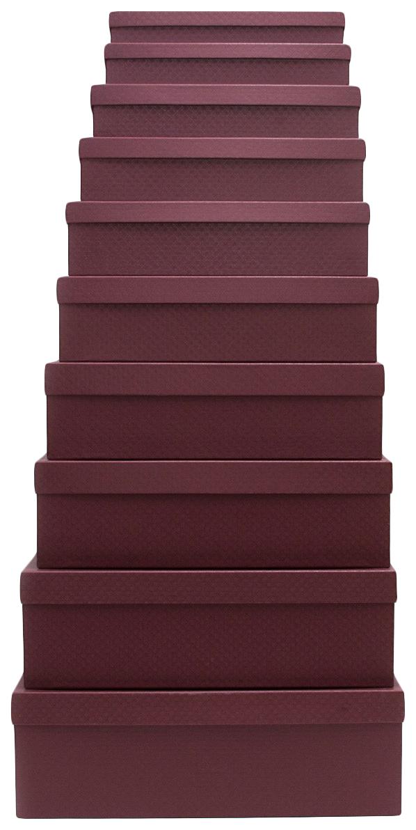 Набор подарочных картонных коробок Гранат, 10 шт. от 23x13x3 см до 36,5x26,5x12 см