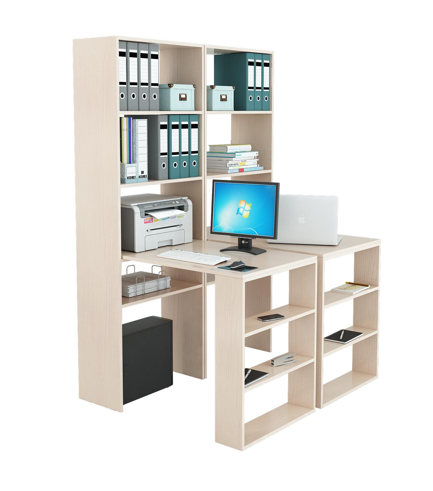 Компьютерный стол в комплекте МФ Мастер Рикс-4 126,4x90x177, дуб молочный
