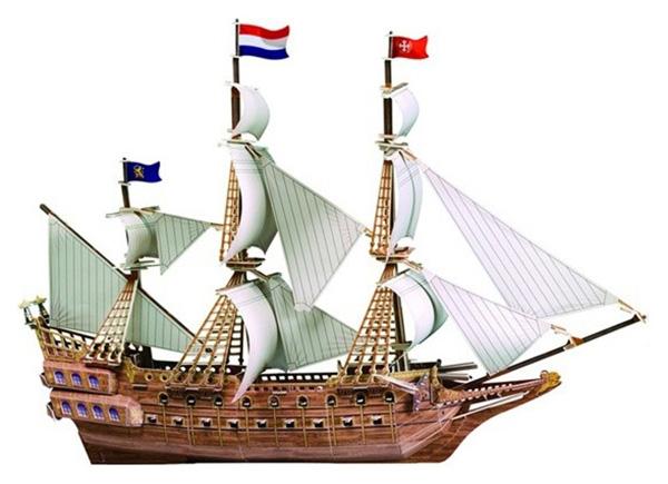 Купить Картонный 3D-пазл Испанский корабль (229 деталей), Zilipoo, 3D пазлы