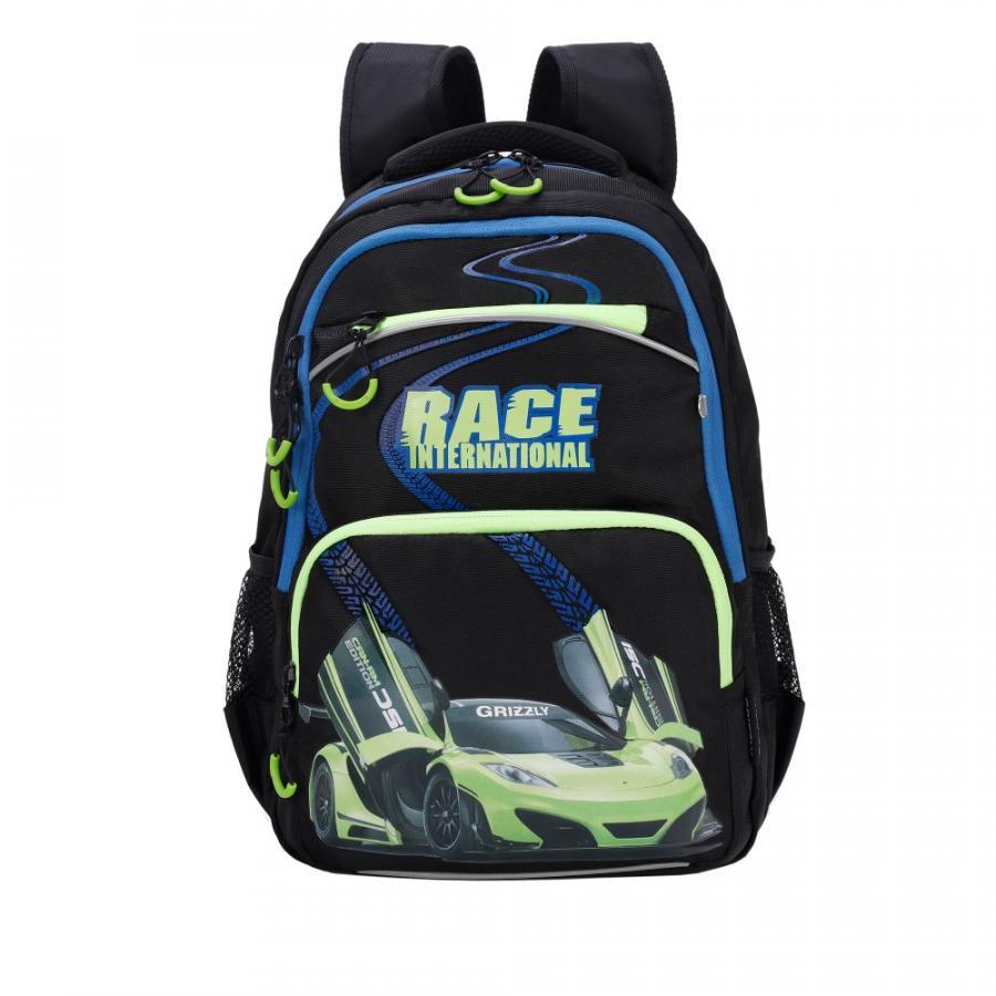 Купить Школьный рюкзак для мальчика Grizzly RB-962-1 черный, Школьные рюкзаки и ранцы