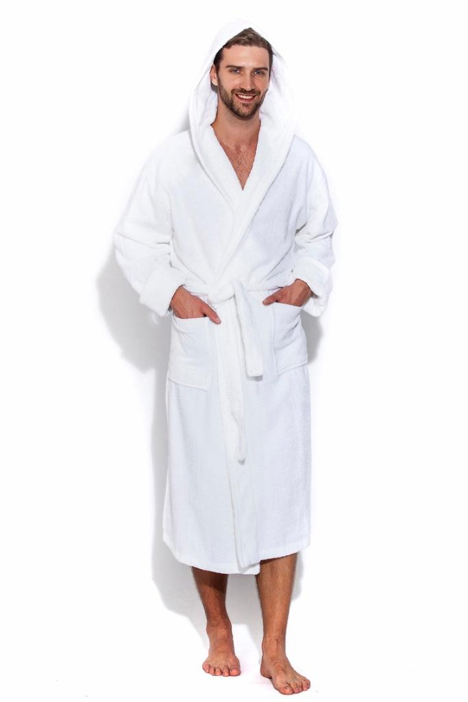 Мужской махровый халат с капюшоном SPORT&Life (Е 901-1), цвет белый, размер 46-48 фото