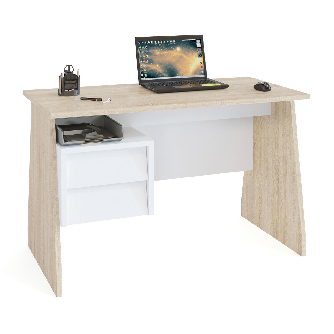 Компьютерный стол СОКОЛ КСТ-115 120x60x75, дуб сонома/белый