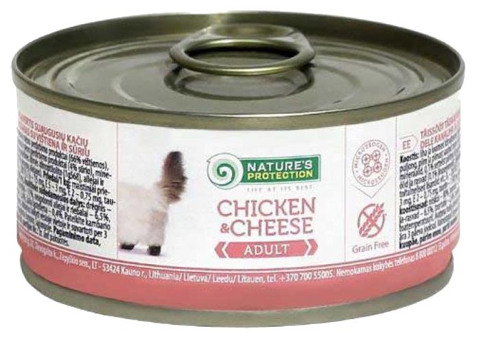 Консервы для кошек Nature's Protection, курица, сыр, кусочки, 100г
