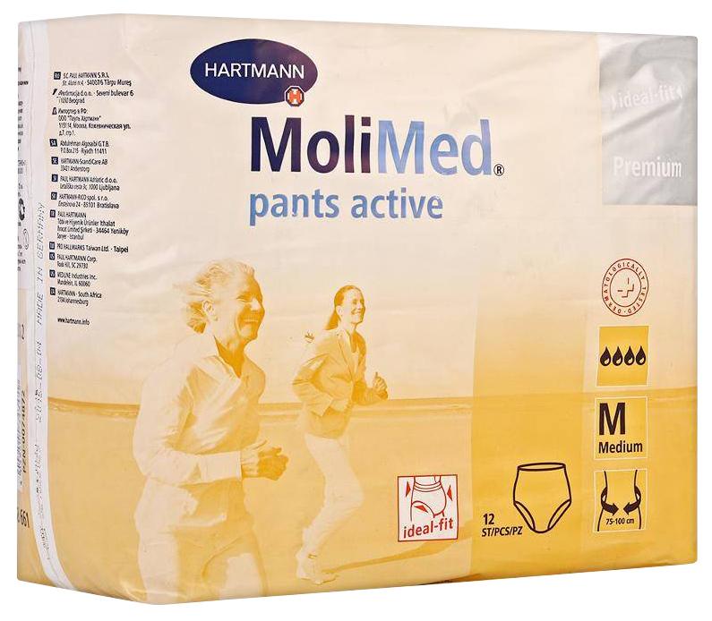 Купить Подгузники для взрослых hartmann molimed pants active трусики впитывающие 12 шт размер м/4