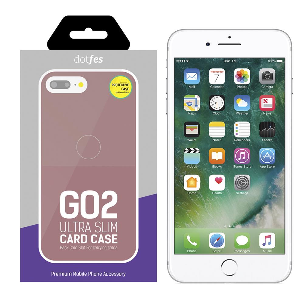 Чехол Dotfes G02 Carbon Fiber Card Case для iPhone 7 Plus/8 Plus (rose gold)