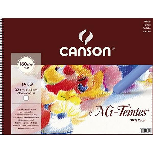 Альбом на спирали, белая бумага для пастели Mi-Teintes CANSON 160г/м2 32х41см, 16 л фото