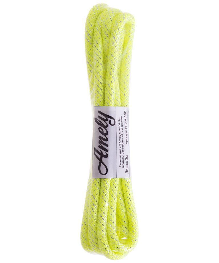 Скакалка для художественной гимнастики Amely RGJ-304, 3м, салатовый/серебряный, с люрексом