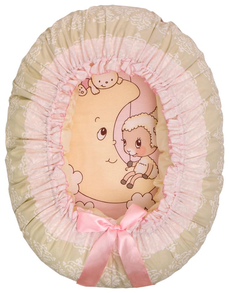 Подушка-валик-гнездо ЗОЛОТОЙ ГУСЬ Овечка на луне ( розовый) 8226