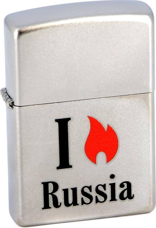 Зажигалка Zippo №205 Flame Russia Satin Chrome фото