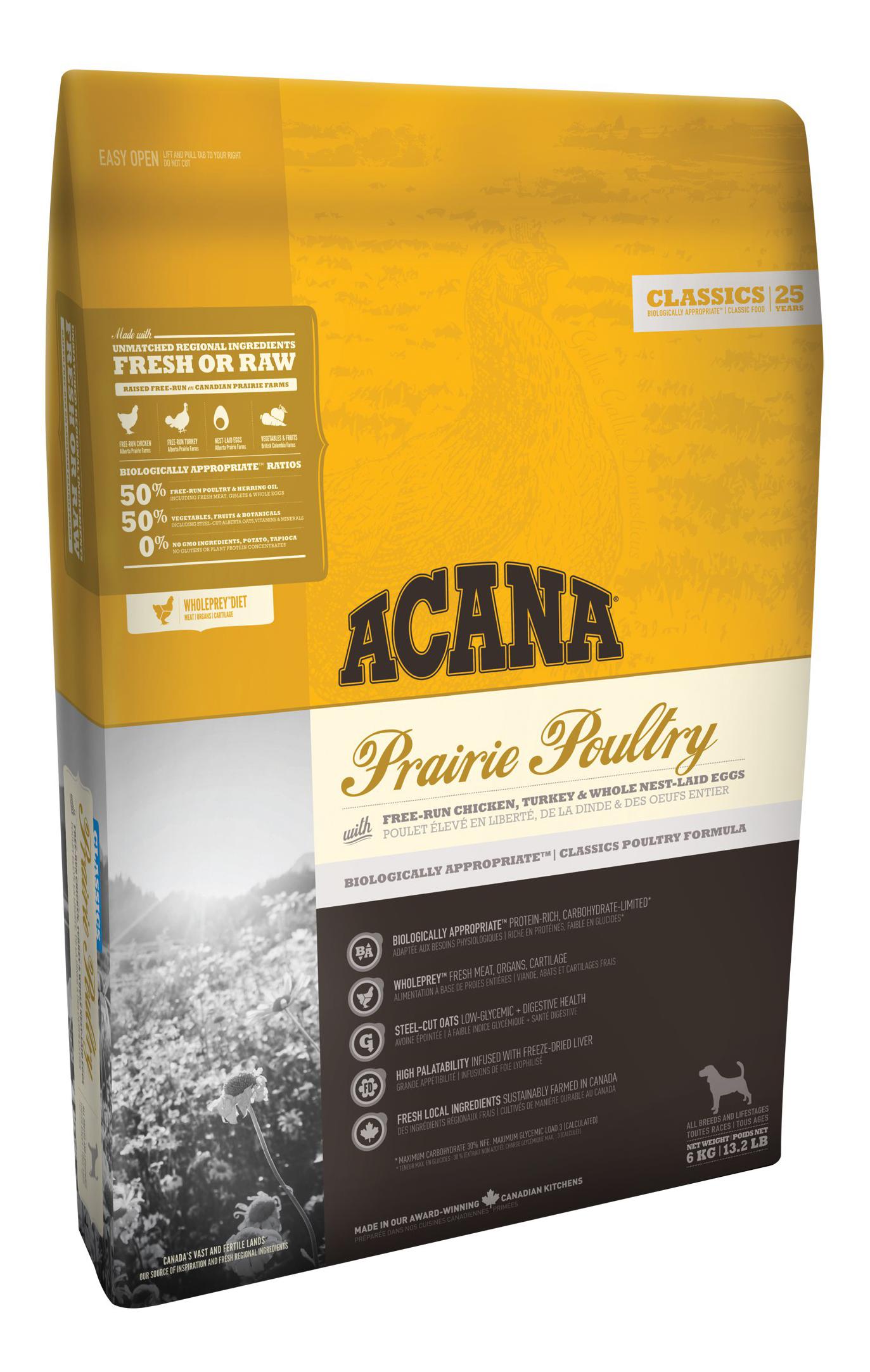 Сухой корм для собак ACANA Classics Prairie Poultry, индейка, курица, овес, 6кг фото