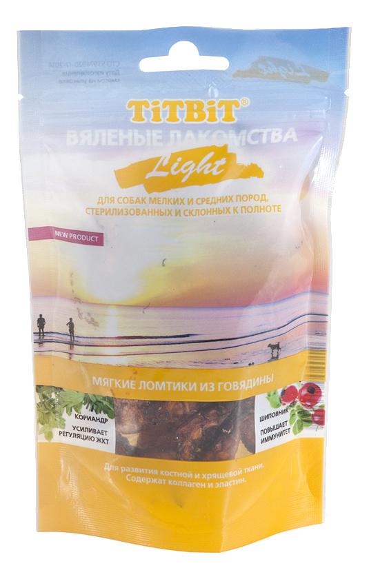 Лакомство для собак TiTBiT Вяленые лакомства, мягкие ломтики из телятины Light, 40г фото