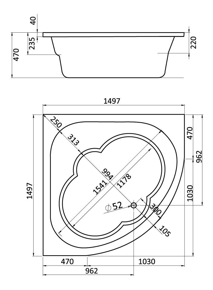 Комплект монтажный Santek для ванны Канны 150х150см белый (WH112432)