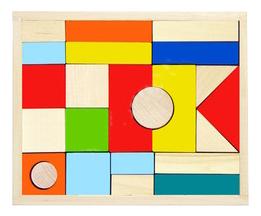 Купить Конструктор деревянный Alatoys Городок Окрашенный , 23 Детали, Алатойс,
