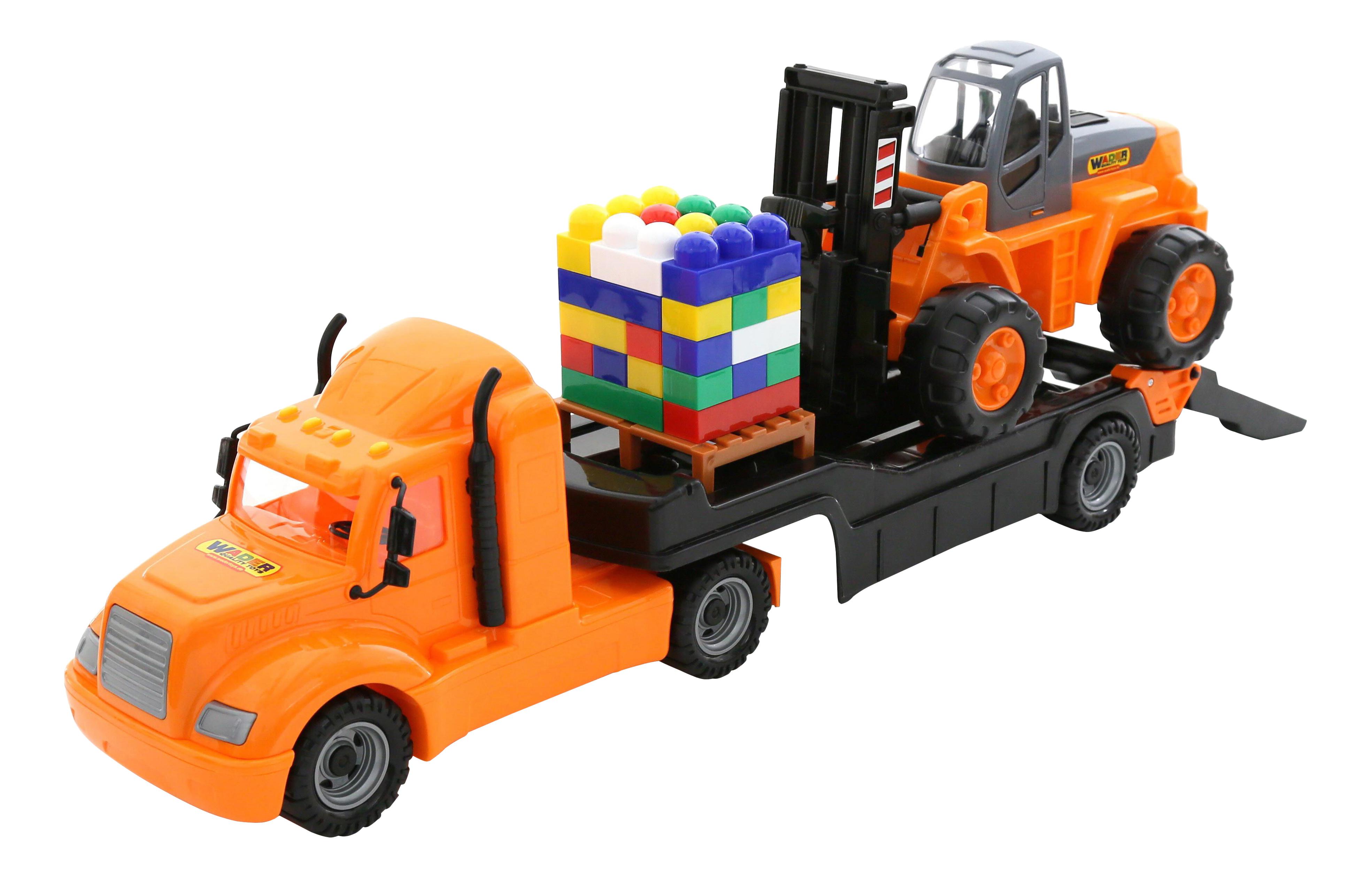 Игровой набор Полесье Майк, автомобиль-трейлер + автокар + конструктор