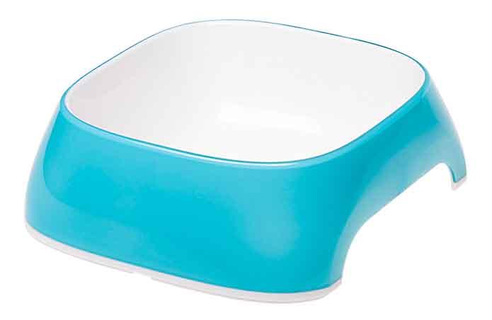 Одинарная миска для кошек и собак Ferplast, пластик, резина, белый, голубой, 0.4 л фото