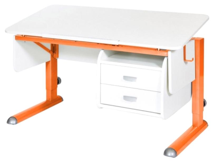 Парта Астек Моно 2 С тумбой белый Оранжевый