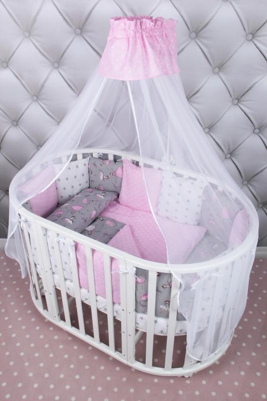Купить Комплект в кроватку Amarobaby Мечта 19 предметов МЕЧТА_сер/роз, Комплекты детского постельного белья