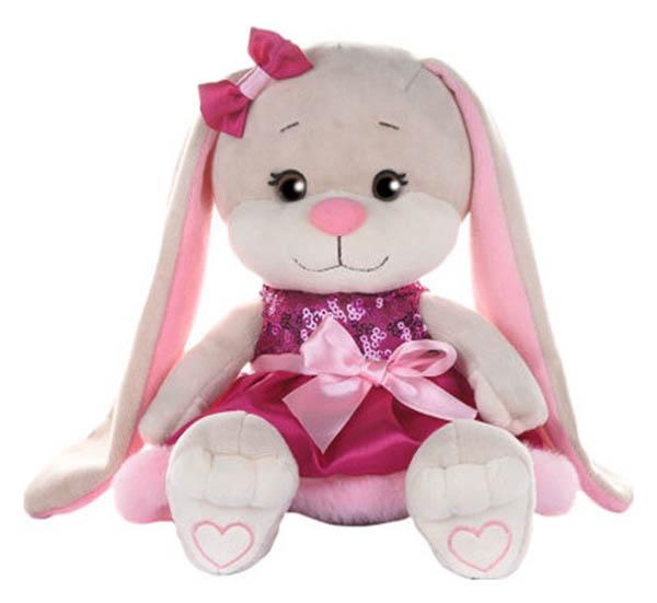 Купить Мягкая игрушка Зайка Jack&Lin в Розовом Платьице с Пайетками и Мехом, 20 см Maxitoys,