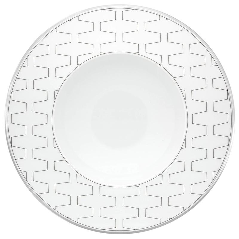 Тарелка суповая 25,1см Vista Alegre TRASSO, цвет белый, серебряный