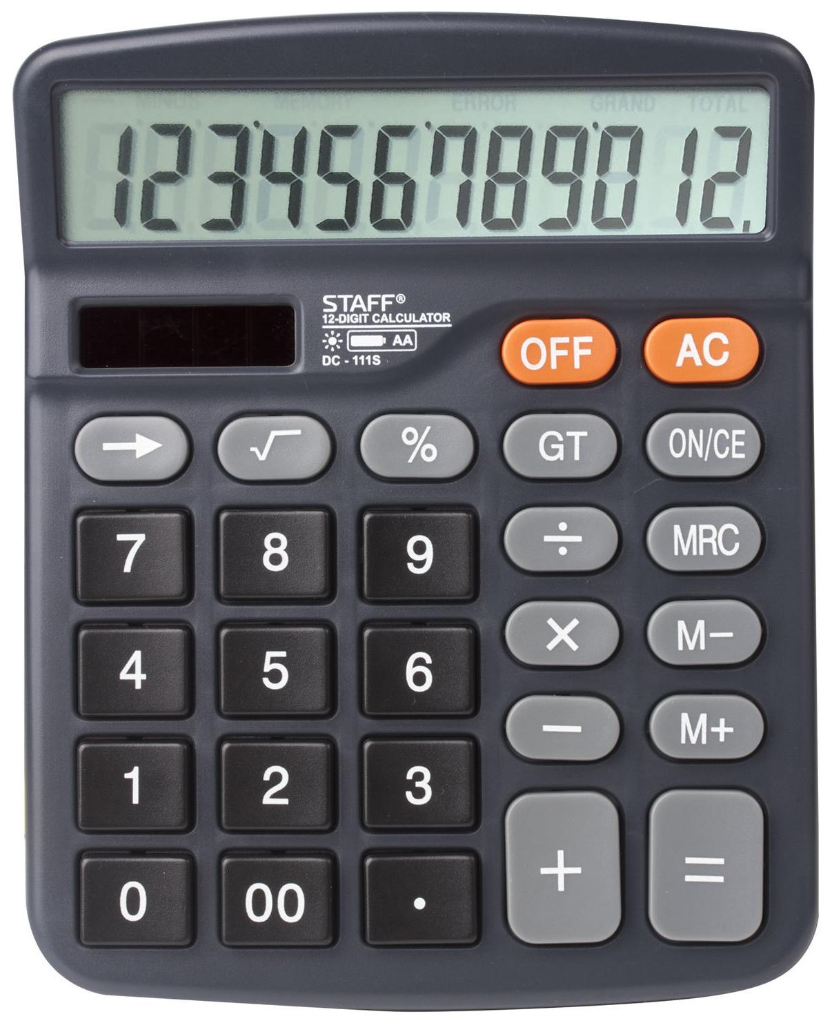 Калькулятор Staff PLUS настольный DC-111S, батарейка АА, 12 разрядов, 150x120 мм