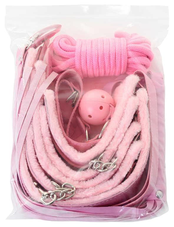 Набор для БДСМ Eromantica, розовый: маска, наручники, оковы, ошейник, флоггер, кляп