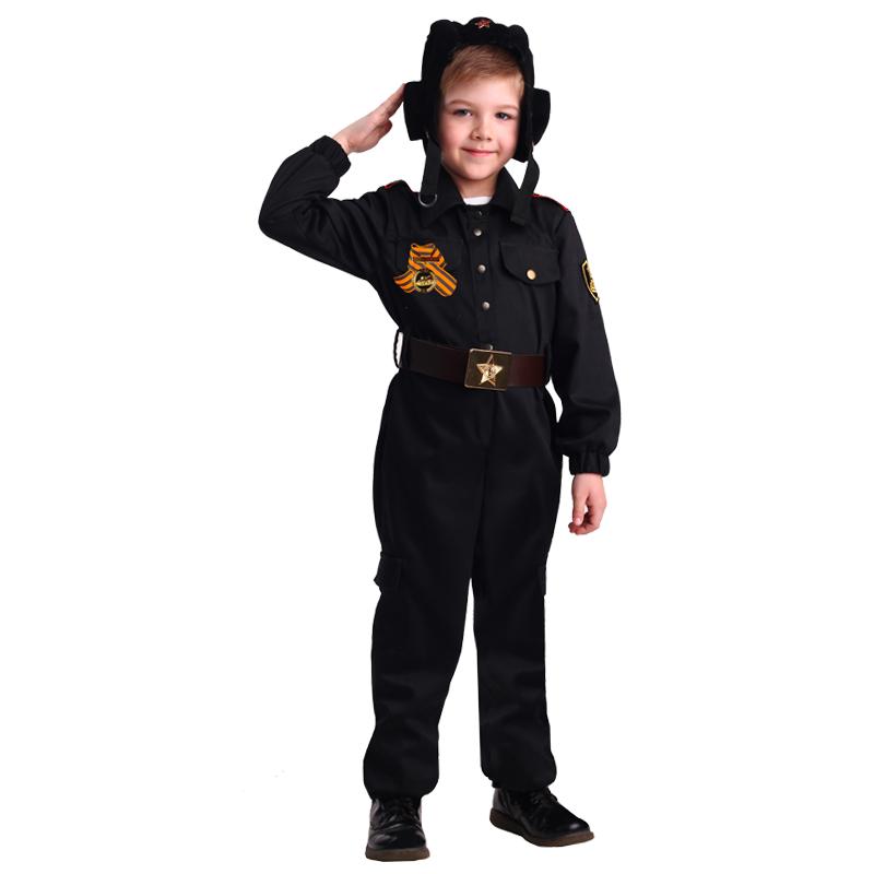 Купить 2077, Карнавальный костюм Батик Военный, цв. черный р.134,