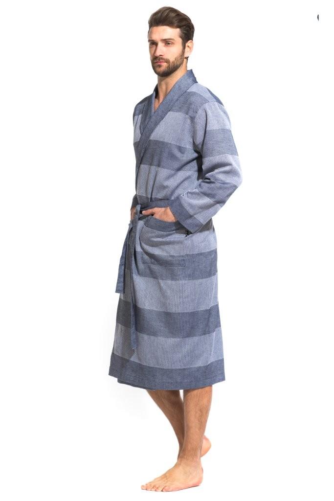 Легкий мужской халат из органического хлопка Pur Organique 417 (мужской) 417/синий/XXL