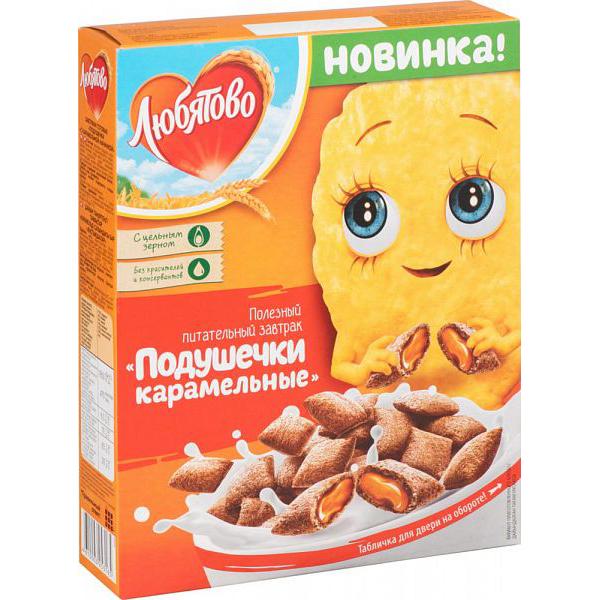 Готовый завтрак Любятово подушечки с карамельной начинкой 250 г