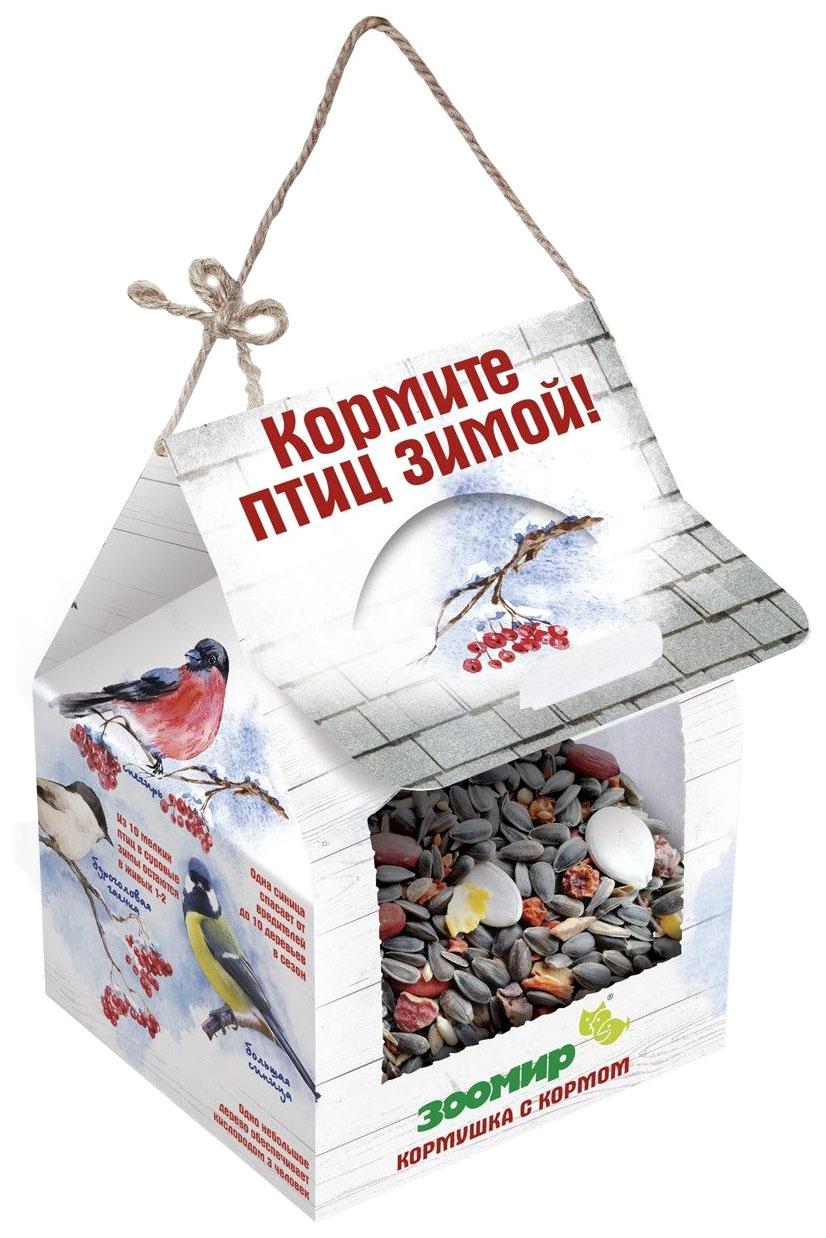 Кормушка для птиц Зоомир, картон, мл, белый