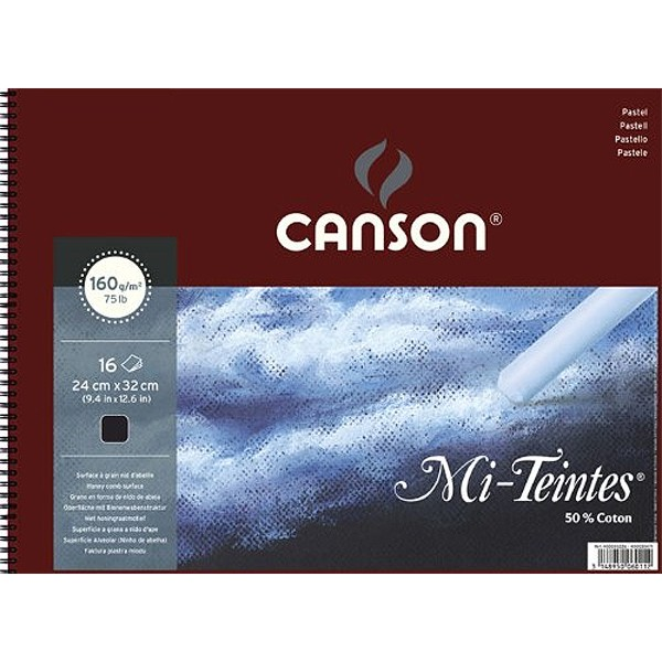 Альбом на спирали, черная бумага для пастели Mi-Teintes CANSON 160г/м2 24х32см 16 л фото