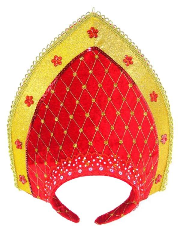 Аксессуар для карнавала Новогодняя сказка Ободок Кокошник, цвет: красный+золото