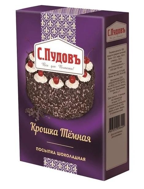 Посыпка шоколадная крошка темная С.Пудовъ 90 г фото